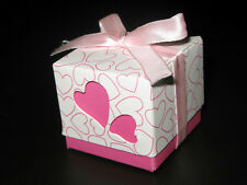 50 of Pink Double Hearts Wedding Party Favor Candy Boxes