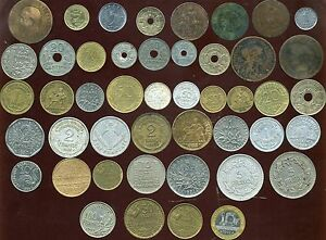 LOT DE 46 MONNAIES(4) ( de NAPOLEON III aux année 1990 ) de1 centime a100 francs