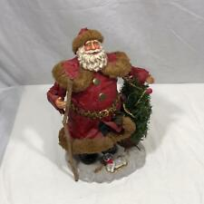 """Santa Statue with Puppy and Christmas Tree Red Green White Gold 11"""""""