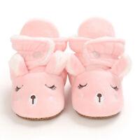 Baby Cozy Fleece Booties Pink Christmas Reindeer Newborn Shoes Toddler Footwear