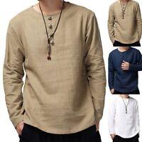 Men's Summer T-Shirt Cotton Linen Hippie Shirt O-Neck Beach Yoga Top Blouse Tee