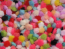 CandyCabsUK BULK BUY 50 Mix Bright Flower Roses 10mm Resin Cabochon DIY CRAFT
