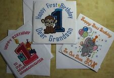 Baby's 1st Birthday card, cute machine embroidered card - Son, Daughter etc.