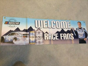 NEW NASCAR WELCOME RACE FANS BUSCH BANNER SIGN BEER MAN CAVE KEVIN HARVICK