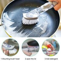 4in 1 Soap Dispensing Dish Brush with Detergent Dispenser Refill Washing 17