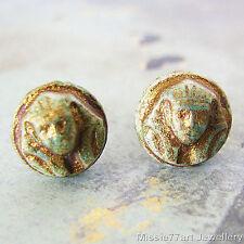 Tutankhamun Egyptian Pharaoh Gold Czech Glass 8mm Stainless Steel Stud Earrings
