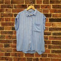 Next Blue Chambrey Shirt UK 16 Sleeveless Striped Summer Blouse