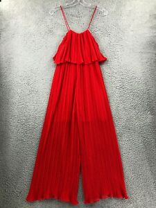 Zara Jumpsuit S Small Red Sleeveless Blouson Stretch Pleated Womens One-Piece
