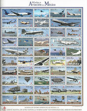 J) 2015 MEXICO, TB SEALS, 100 YEARS OF AVIATION IN MEXICO, FULL SHEET