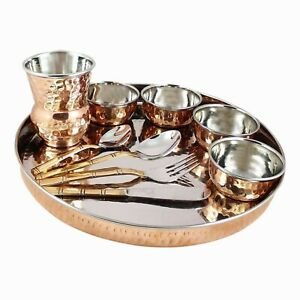 Steel Copper Traditional Dinner Thali Set Food Restaurant Dinnerware Diwali Gift