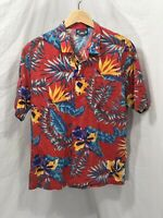 HAWAII BLUES Large Hawaiian Shirt Red Blue Yellow Flower MADE IN USA