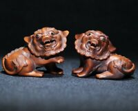 Noble feng shui decor boxwood carved pair lucky pi xiu statue figurines lion dog