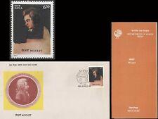 Mozart India   FDC Folder    music composer Austria Musik 1991 Osterreich Piano