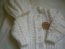 Hand Knitted White Baby Set: Cardigan with matching Hat - size 0-3 months