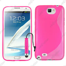 Housse Etui Coque Silicone S-line Rose Samsung Galaxy Note 2 N7100 + Mini Stylet