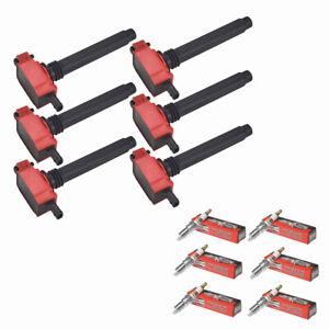 UF648 Red Ignition Coil + Spark Plugs for Chrysler Dodge Jeep Ram 3.2/3.6L V6