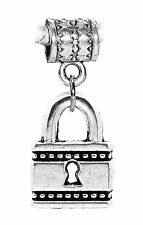 Small Padlock Pad Lock Locker Key Dangle Charm for Silver European Bead Bracelet