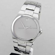 Authentic Movado Men's Watch Luno Silver Museum Dial Sapphire Crystal Swiss
