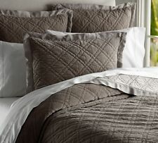 New Pottery Barn Washed Velvet Silk Quilted Standard Sham ~ Flagstone Gray