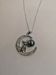 """Genuine Natural Cultured Tahitian Pearl """"Cat In The Moon"""" Silver Necklace"""