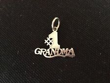 14K Solid White Gold #1 Grandma Signed Saro Textured Pendant  Excellent MUST SEE