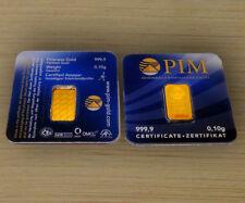 GOLDBARREN 0,10 Gramm PIM Gold Barren 0,1g 0,10g 999,9 Nadir LBMA zertifiziert