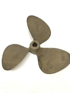 """USED 11"""" Vintage Nautical Maritime decor 3 BLADE BRASS / NIBRAL PROPELLER~97R"""