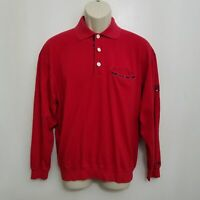 Tommy Hilfiger Golf Mens Polo Shirt Medium Red Long Sleeve Cotton Embroidered