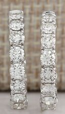 ESTATE 3.25CTW NATURAL DIAMOND HOOP EARRINGS 14K SOLID WHITE GOLD