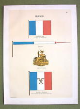 FLAGS FRANCE Coat of Arms National Naval Marine - 1899 Color Antique Print