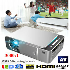 Portable HD T6 WiFi Mirroring Screen Silver LED Projector 1080P 5000LM HDMI RH
