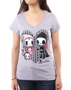NEW Tokidoki I Heart You Adios Ciao Ciao Junior Grey T-Shirt WBTE07102 US Seller