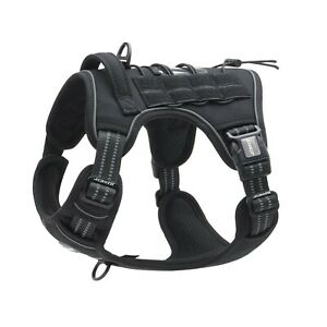 Auroth Tactical Dog Training Harness No Pulling Front Clip Leash Adhesion... New