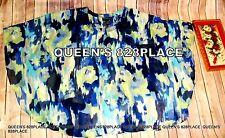 MAGGIE BARNES Kimono Swing Embellish Top Blouse Blue green Plus Size 26 28W 3X
