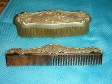 Antique Very Ornate Victorian Lady Art Nouveau Silveroin Brush and Comb Set