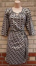K&D GOLD TAUPE BAROQUE LONG SLEEVE WRAP BELTED SIDE BODYCON TUBE DRESS 16 XL