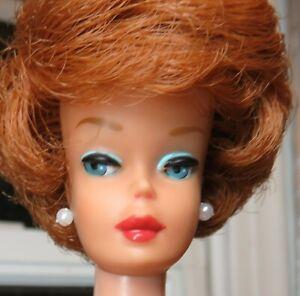 BIG BUBBLE Vintage Redhead Bubblecut Barbie Doll Original Red Swimsuit