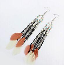 1 Long Bohemian Pair of Feather Tassels Dangle Earrings - White & Brown # 640