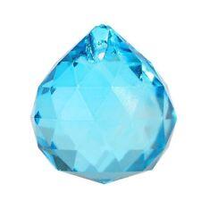 Sea Blue Crystal Ball Prism Pendant Suncatcher, 40mm
