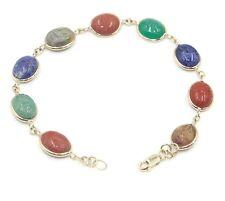 "Scarab Multi-Color 7 "" Bracelet,14k Yellow Gold"