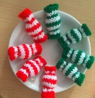 8 Christmas Sweets Red Green Striped Sweets Hand Knitted Boiled Sweet Handmade