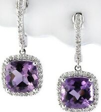 CUSHION-CUT AMETHYST & DIAMOND HALO DANGLE HANGING DROP EARRINGS 14K WHITE GOLD