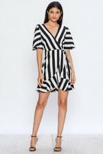 Black and White Striped Mini Wrap dress ~ Ruffle edge~ Short bell sleeve ~Size L