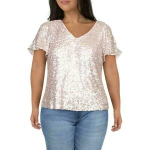 NWT ❤ALEX EVENINGS❤ WOMENS PINK V-NECK SEQUINED TOP US PLUS SZ 3X FITS 22-24