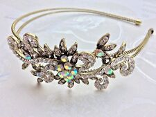Bridal Bridesmaid Prom - Antique Style AB Crystal side tiara, Alice Band