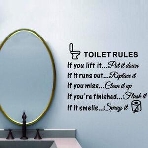 Toilet Wall Sticker Art Decals Toilet Rules Vinyl DIY Bathroom Home Decoration