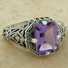 Genuine Brazilian Amethyst .925 Sterling Silver Antique Style Ring Size 10, #351