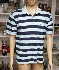 Nautica Mens Polo Shirt, Size Large, Blue Stripes 100% Cotton