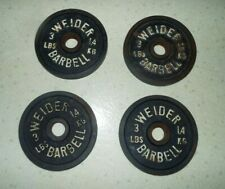 4 VINTAGE WEIDER 3 LBS. 1.4 KG BARBELL WEIGHTS ONE SIDED I IN. CENTER READ!!!!!
