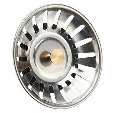 Sink Plug Stainless Steel Basket Strainer Waste Drain Stopper Home Kitchen/A+